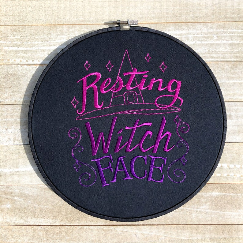 Resting Witch Face Embroidery Hoop Wall Art image 0
