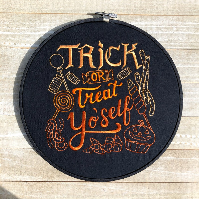 Trick Or Treat Yo'self Embroidery Hoop Wall Art image 0