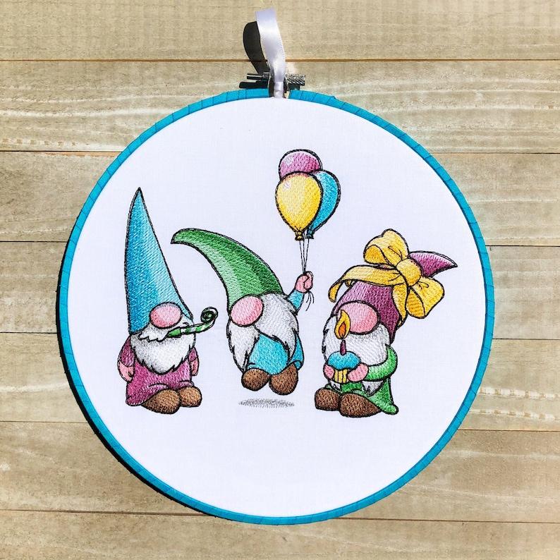 Celebration Gnomes Handmade Embroidery Hoop Wall Art image 0