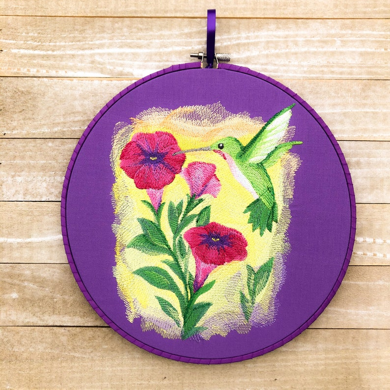 Hummingbird and Flowers in Watercolor Handmade Embroidery Wall image 0