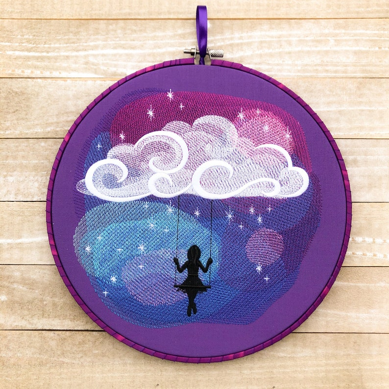 Swinging In Space Handmade Embroidery Wall Art image 0