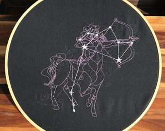 Sagittarius Constellation Embroidery Hoop Art