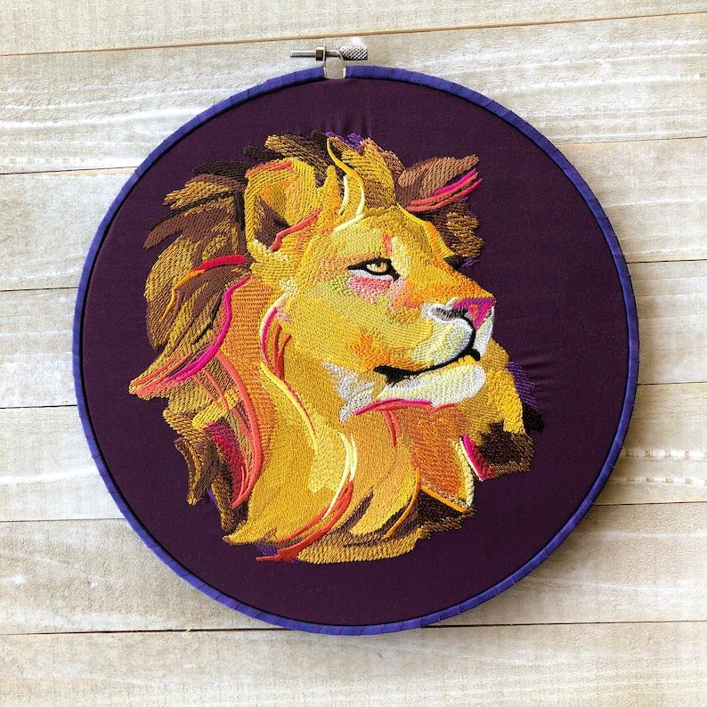 Painted Lion Handmade Embroidery Hoop Wall Art image 0
