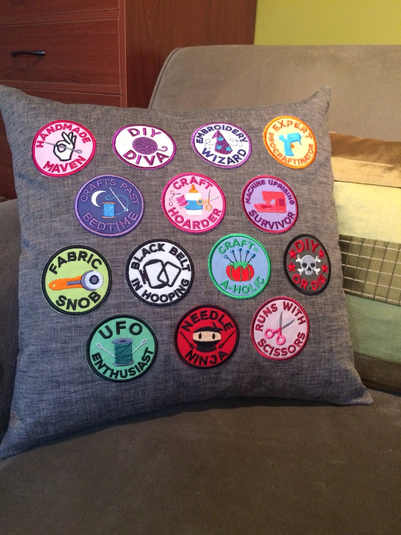 Craft Hoarder Crafty Sewing Merit Badge Feminist Embroidered Patch Large or Small