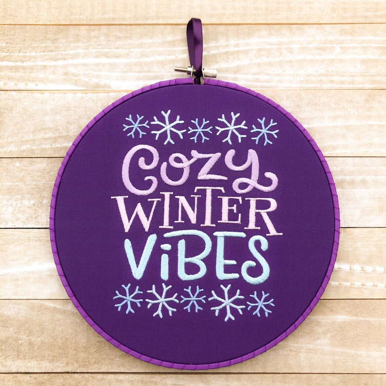 Cozy Winter Vibes Handmade Embroidery Wall Art image 0