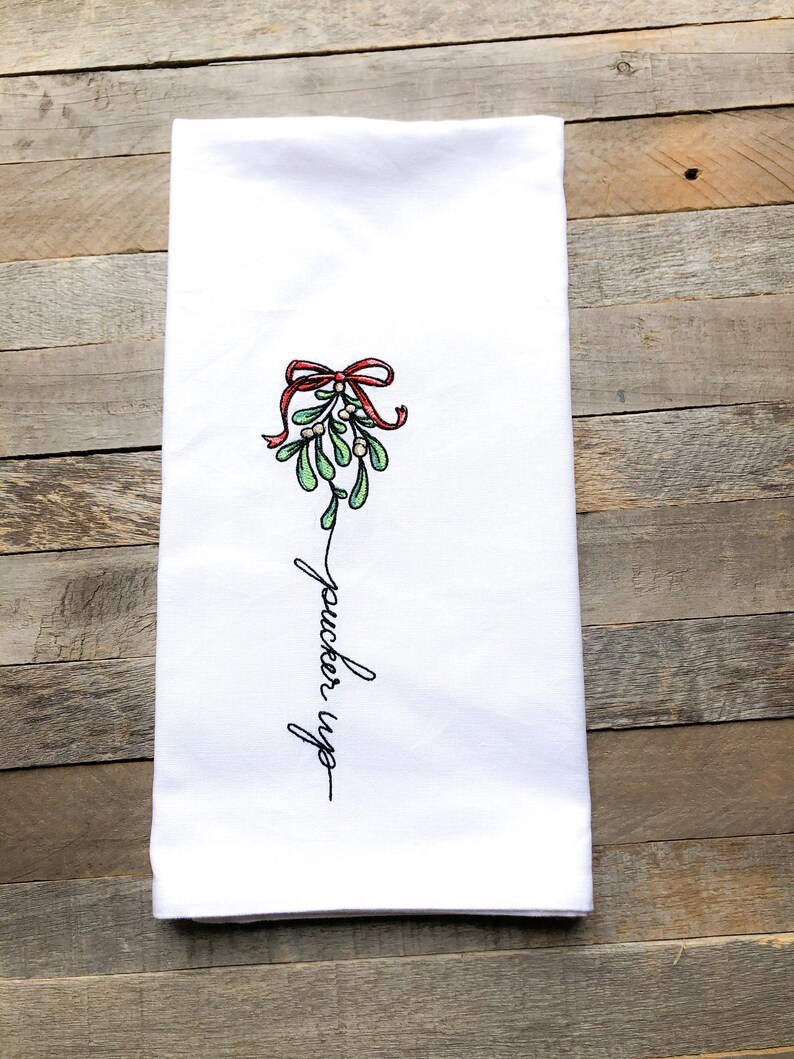 December: Pucker Up Sentiments of the Year Kitchen Towel image 0