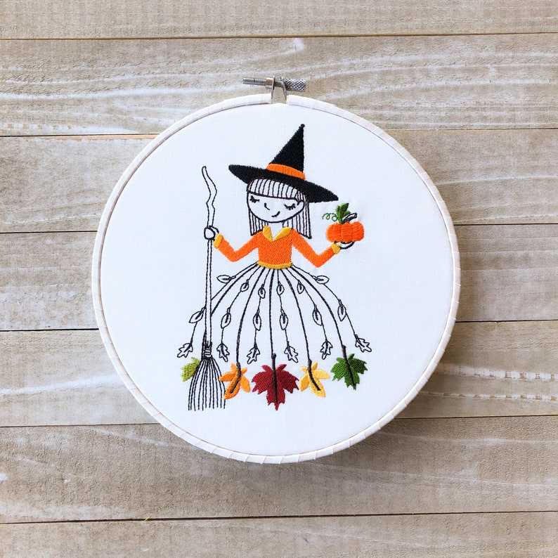 Miss October Monthly Embroidery Hoop Art image 0