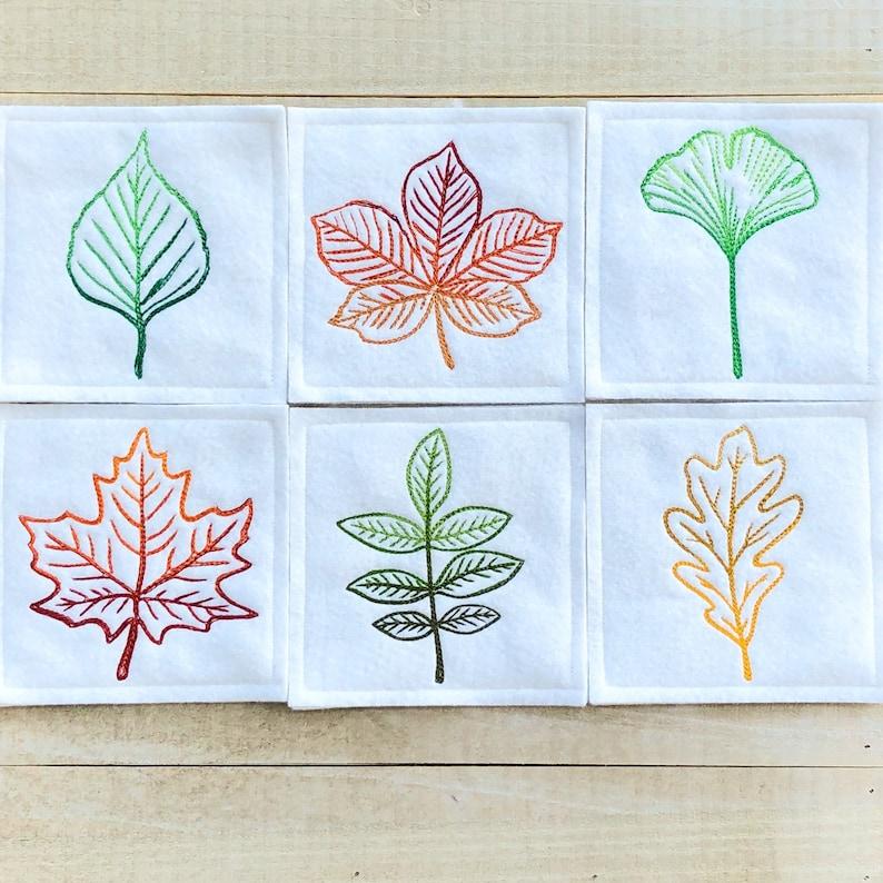 Autumn Leaves Embroidered Wool Felt Coasters Set of 6 image 0