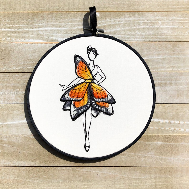 Monarch Fashionista Handmade Embroidery Hoop Wall Art image 0