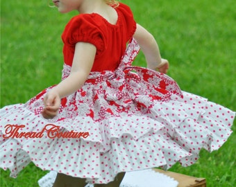 Peasant Dress Pattern, Long and Short Sleeves, Baby,Toddler, Girls Sewing Pattern Pdf, Allana Ruffled Dress, Girls Peasant Dress Pattern