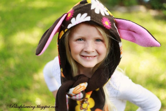 Sewing Pattern Hooded Scarf With Animal Ears Scoodie Sewing Etsy