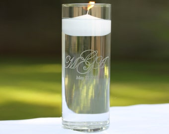 Unity Candle Vase with Floating Candle included in 24 colors including ivory, white, pink, blue, green, yellow, and more - Custom Engraved