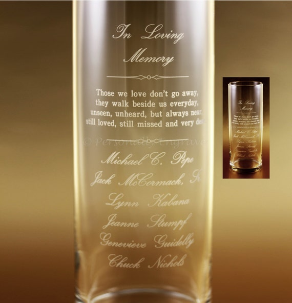 Memorial Candle Vase Floating Candle In A Custom Engraved Etsy