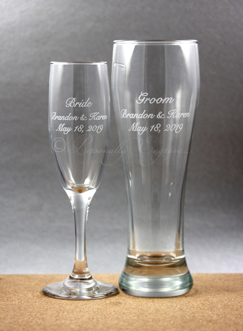 Any Message Engraved Personalised Engraved Champagne Flute Glass Any  by jevg