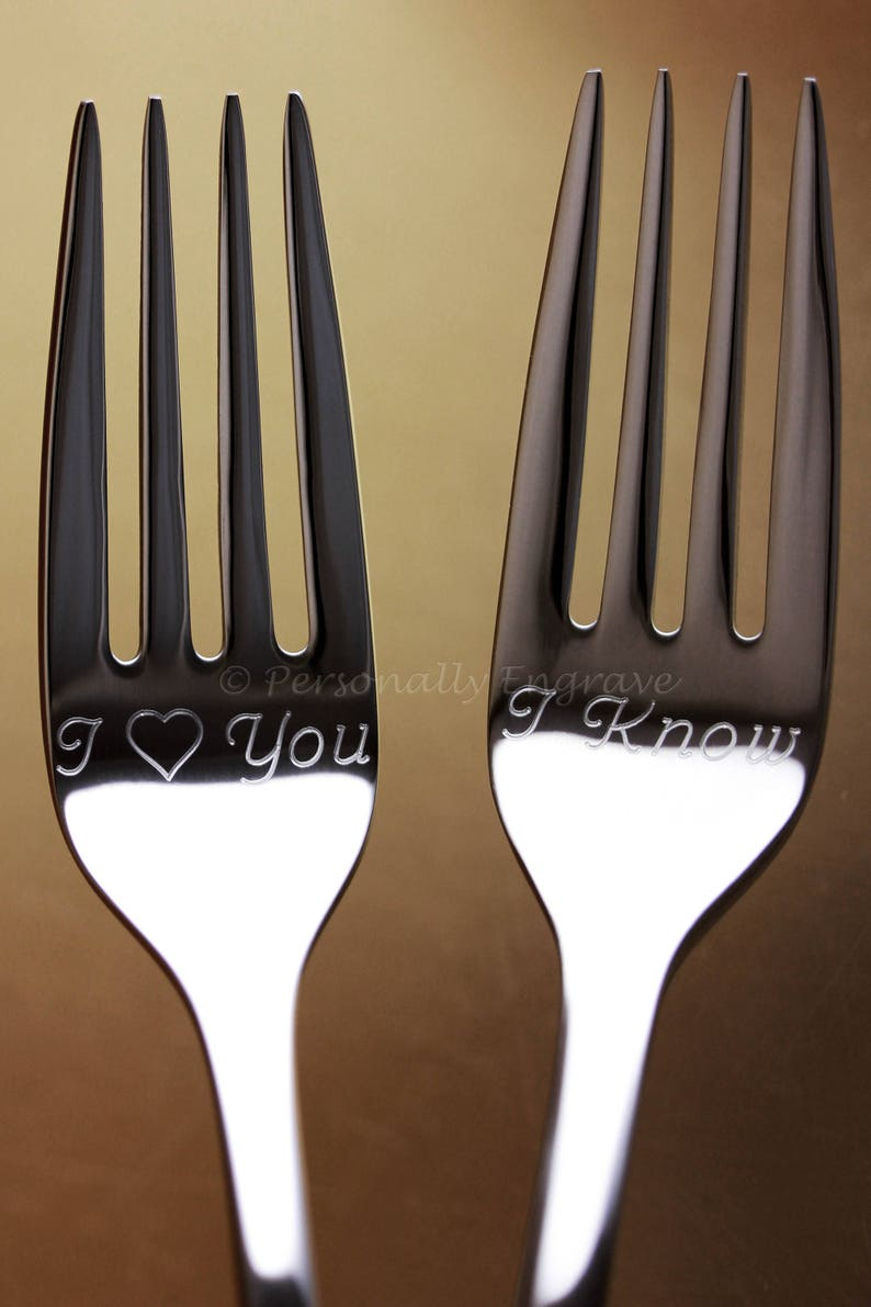 Engraved Personalized Wedding Cake Forks Mr and Mrs bride groom I love you me too Set in Stainless