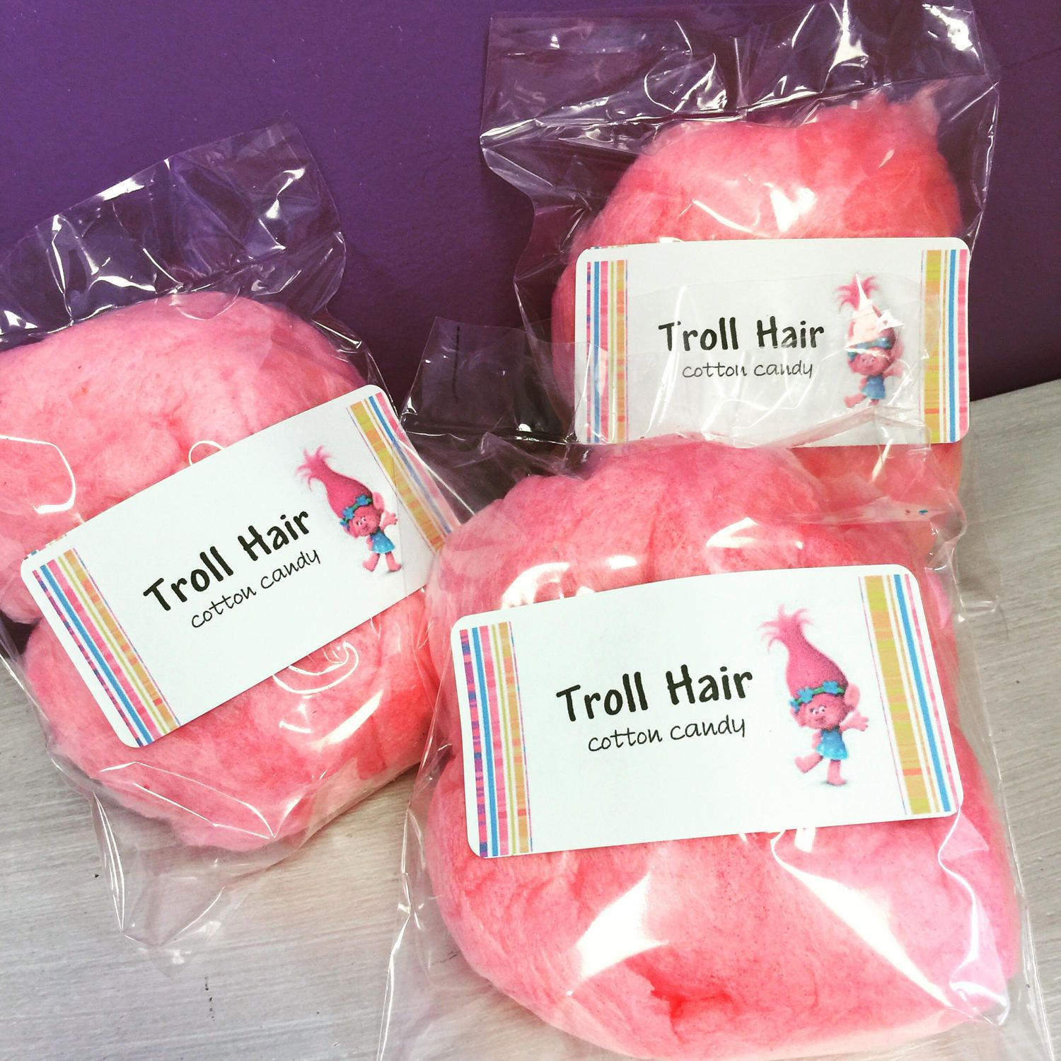 15 Troll Hair Cotton Candy Favors 1 flavor per bag Pink or | Etsy
