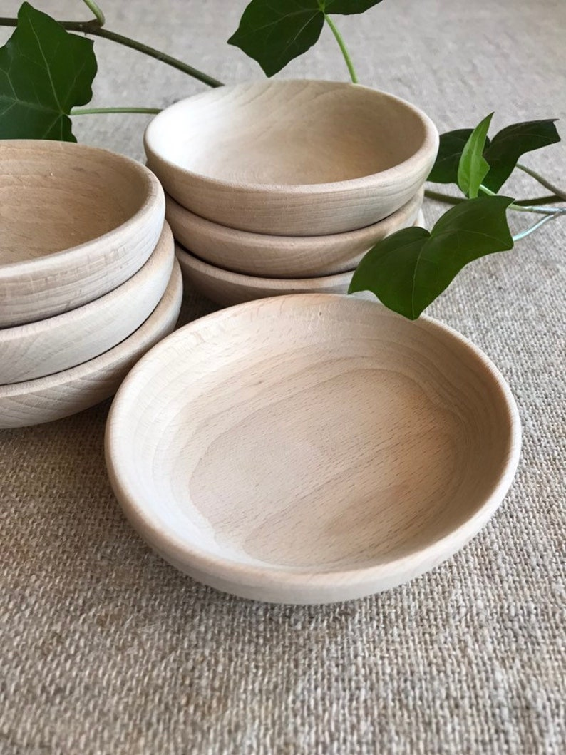 Small Wooden Bowl Set Of 5 Unfinished Wood Jewelry Dish Gift For Her