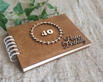 40th Birthday Gift, Wooden Photo Book, Scrapbook Album, Gift for Dad, Husband, Friend