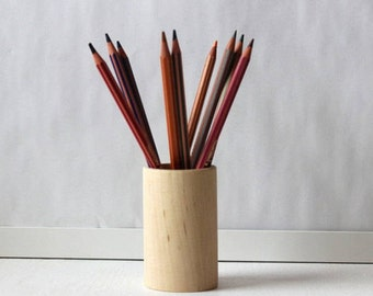 Wooden Pencil Holder, Desk Organizer, Unfinished Wood Pen Holder, Modern Office Decor