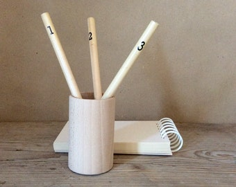 5 x wooden pencil holder, desk organizer, modern office decor, container for crayons, stationery organizer, unfinished wood