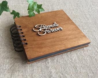 "photo album for best friend, black pages album, wooden cover album, 25 sheets, 6 x 6"" album, scrapbook album, memory book"