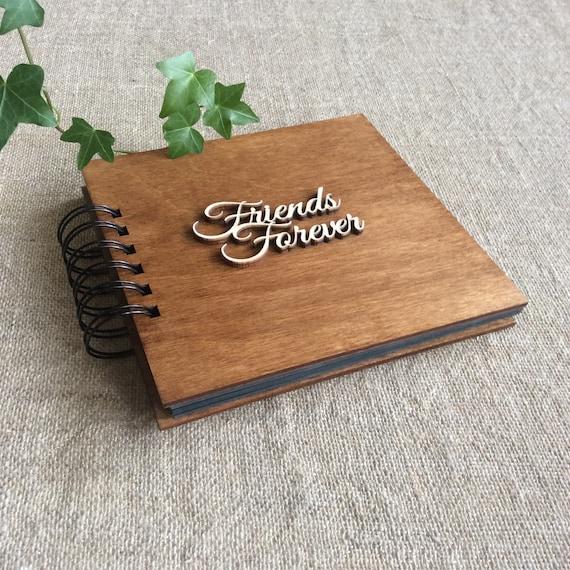 Photo Album For Best Friend Black Pages Album Wooden Cover Etsy