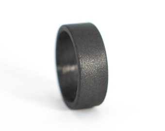 Men's carbon fiber and graphite ring. Exclusive dark grey wedding band. Water resistant, very durable and hypoallergenic. (01100_7N)