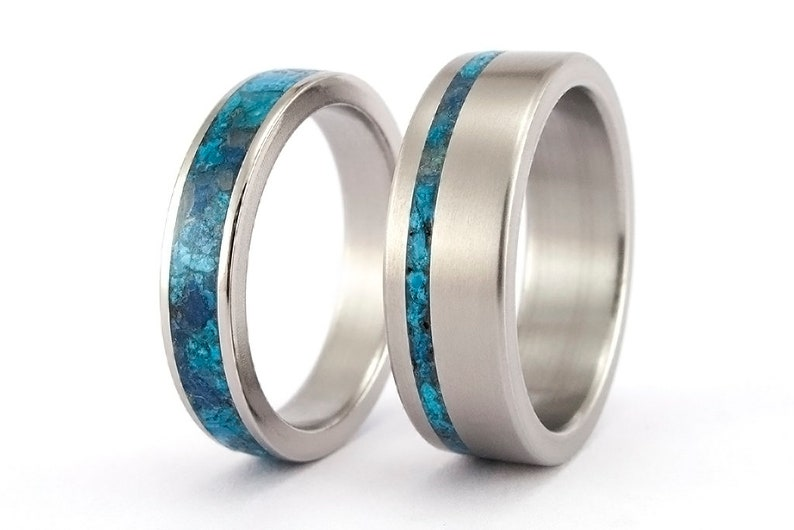 Titanium Wedding Rings.Set Of Titanium Wedding Bands With Chrysocolla Semi Precious Stone Water Resistant Blue And Turquoise Tones Rings 03227 4n 03232 8n
