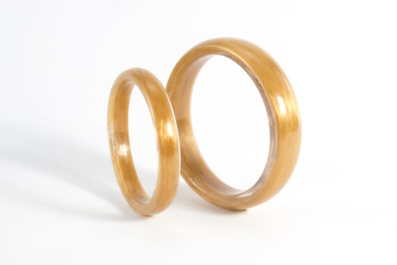 Set Of Two Kevlar Wedding Bands Unique And Industrial Golden Etsy
