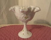 Signed Fenton Spanish Lace Compote Candy Dish