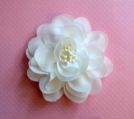 Off white chiffon flower 4 off white flower 1 pc isla etsy image 0 mightylinksfo