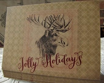 Christmas Moose Greeting Cards - Jolly Holidays - Argyle - set of five- note cards- kraft paper