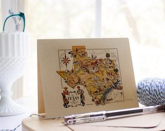 Texas greeting card - funny Texas map notecard - cowboy greeting card - Texas card set - Western Stationery - Cowboy note card set