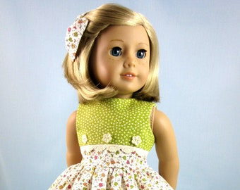 Dress and Hair Bow to fit American Girl dolls - Doll Clothes 18 Inch - Green and Gold Floral - Gift for Girl - Doll Collector