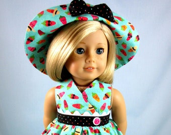 Doll Clothes 18 Inch - Chili Pepper Doll Dress and Hat to fit American Girl Doll - Gift for Girl - Doll Collector - Whimsical Doll Clothes