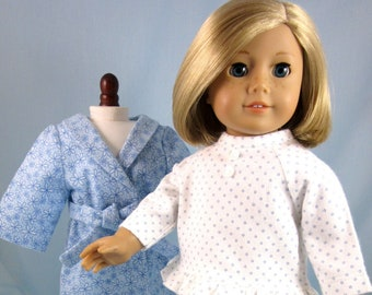 Flannel Pajama and Robe Set fits American Girl dolls - Doll Clothes 18 Inch - Gift for Girl - Doll Pajamas and Bathrobe - Blue and White