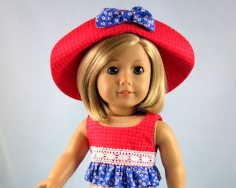 3 Piece Play Outfit fits 18 Inch American Girl - Doll Top Crops and Hat - Gift for Girl - Doll Clothes Red White Blue - Summer Doll Clothes