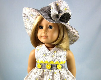 Doll Clothes 18 Inch - Sundress and Hat in Black White and Yellow Floral - Gift for Girl - Fits American Girl Doll - Doll Collector