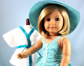 Doll Clothes 18 Inch - 3-Piece Swim Set fits American Girl - Swimsuit, Cover Up and Sun Hat - Turquoise and Aqua Floral - Gift for Girl