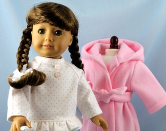 Flannel Pajama &  Fleece Robe Set fits 18 Inch American Girl - Doll Clothing - PJs and Robe - Gift for Girl - Pink Polka Dots