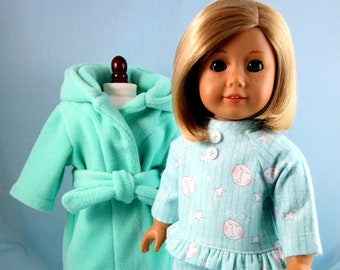 Flannel Pajama &  Fleece Robe and PJ Set fits 18 Inch American Girl - Doll Clothing - PJs and Robe - Gift for Girl - Aqua Moon and Stars