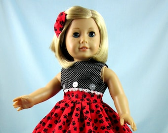 Doll Dress 18 Inch - Paw Prints Dress and Hair Bow to fit American Girl dolls - Doll Clothes 18 Inch - Red Black - Gift for Girl - Puppies