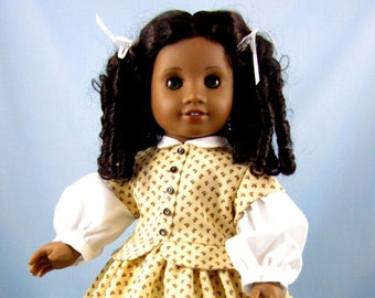 1800s Doll Dress - Civil War Era Dress - fits American Girl Doll - 18 Inch Doll Clothing - Gold with Red Floral Black Trim - Addy