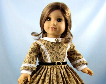 Doll clothes 18inch - 1860s Civil War Era Dress - 18 Inch Doll Clothing - Fits American Girl - Black Tan Vines - Historic Doll Clothing