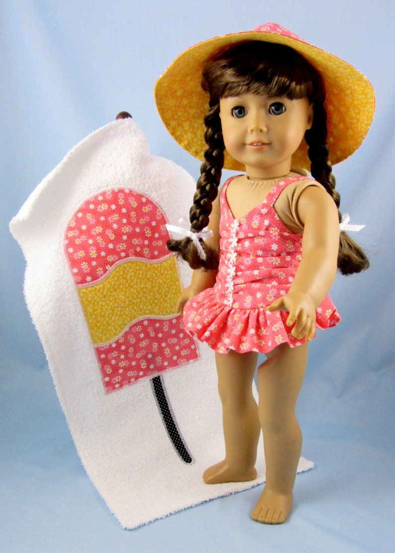 4e1dc1c4330 Doll Clothes 18 Inch - 3-Piece Swim Set fits American Girl - Swimsuit,  Beach Towel and Sun Hat - 18 Inch Doll Swimsuit - Doll Beach Set
