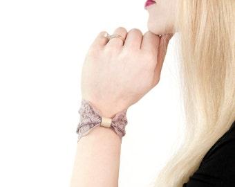 Lace Cuff, Bow Bracelet, Wide Bracelet Bow Tie, Vegan Faux Leather, Grey Gray Stretch Bracelet, Wide Cuff Womens Gift, Wrist Tattoo Cover Up