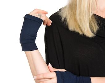 Short Gloves, Short Fingerless Gloves, Navy Gloves, Navy Blue Fingerless Gloves, Women Hand Warmers, Costume Gloves, Hand Tattoo Cover Up