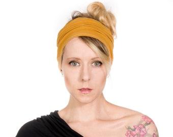 Mustard Headband, Yoga Headband Extra Wide Headband Adult, Jersey Headbands Women, Mustard Yellow Scrunch Headband Head Cover, Hair Autumn