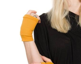 Mustard Gloves, Short Gloves, Short Fingerless Gloves, Women Hand Warmers Costume Gloves Cosplay Gloves Yellow Gloves, Hand Tattoo Cover Up