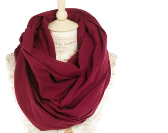 Burgundy Infinity Scarf, Maroon Scarf, Hooded Scarf Womens Nursing Cover Jersey Infinity Scarf, Wide Infinity Scarf Unisex Scarf Christmas
